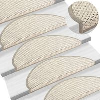 vidaXL Selvklebende trappematter sisal-utseende 15 stk 65x25 cm beige