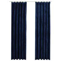 vidaXL Lystette gardiner med kroker 2 stk fløyel mørkeblå 140x225 cm