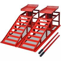 vidaXL Bilreparasjonsrampe 2 stk rød stål