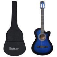 """vidaXL Western akustisk gitarsett 12 deler med 6 strenger blå 38"""""""