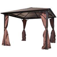 vidaXL Paviljong med gardin brun aluminium 300 x 300 cm