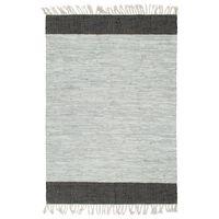 vidaXL Håndvevet Chindi teppe lær 80x160 cm lysegrå og svart