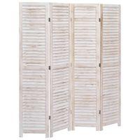 vidaXL Romdeler 4 paneler hvit 140x165 cm tre