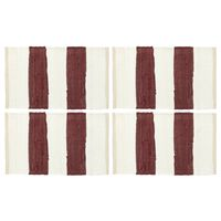 vidaXL Bordmatter 4 stk Chindi stripet burgunder hvit 30x45 cm