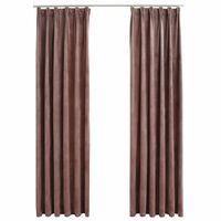 vidaXL Lystette gardiner med kroker 2 stk fløyel antikk rosa 140x245cm