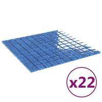 vidaXL Selvklebende mosaikkfliser 22 stk blå 30x30 cm glass