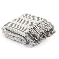 vidaXL Pledd bomull stripetmønster 220x250 cm grå og hvit