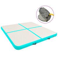 vidaXL Oppblåsbar gymnastikkmatte med pumpe 200x200x20 cm PVC grønn