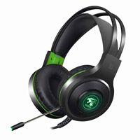 V5000 Gaming Headset med LED grønt - USB + 3,5 mm