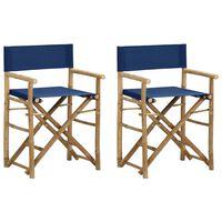 vidaXL Sammenleggbare regissørstoler 2 stk blå bambus og stoff