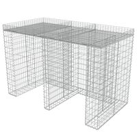 vidaXL Gabion for søppeldunkskur galvanisert stål 190x100x130 cm