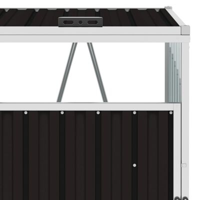 vidaXL Firedobbelt søppeldunkskur brun 286x81x121 cm stål