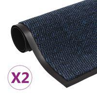 vidaXL Støvkontroll dørmatter 2 stk rektangulær tuftet 60x90 cm blå