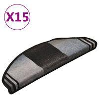vidaXL Selvklebende trappematter 15 stk svart og grå 65x21x4 cm