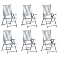 vidaXL Hagelenestoler 6 stk grå heltre akasie