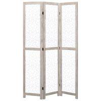 vidaXL Romdeler 3 paneler hvit 105x165 cm heltre