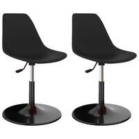 vidaXL Svingbare spisestoler 2 stk svart PP