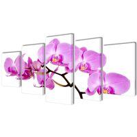 Kanvas Flerdelt Veggdekorasjon Orkidé 200 x 100 cm