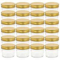 vidaXL Syltetøyglass med gule lokk 24 stk 110 ml