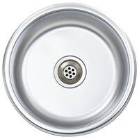 vidaXL Kjøkkenvask med sil og samler rustfritt stål