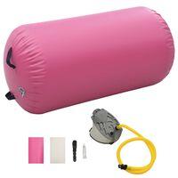 vidaXL Oppblåsbar gymnastikkrull med pumpe 120x75 cm PVC rosa