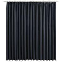 vidaXL Lystett gardin med metallkroker svart 290x245 cm