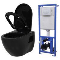 vidaXL Vegghengt toalett med skjult sisterne keramikk svart