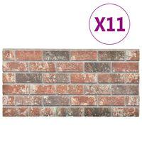 vidaXL 3D veggpaneler med mørkebrunt og grått mursteindesign 11stk EPS