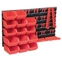 vidaXL Oppbevaringsbokssett i 39 deler med veggpaneler rød og svart