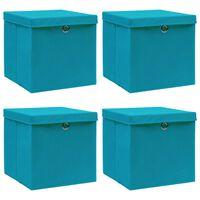 vidaXL Oppbevaringsbokser med lokk 4 stk babyblå 32x32x32 cm stoff
