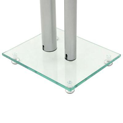 vidaXL Høyttalerstativer 2 stk herdet glass sølv