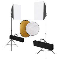 vidaXL Fotostudiosett med softboks lys og reflektor