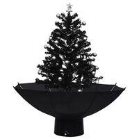 vidaXL Kunstig juletre med snø og paraplyfot svart 75 cm PVC