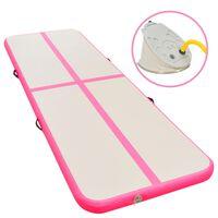 vidaXL Oppblåsbar gymnastikkmatte med pumpe 700x100x10 cm PVC rosa