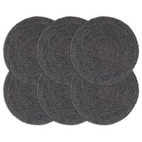 vidaXL Bordmatter 6 stk ren mørk grå 38 cm rund jute