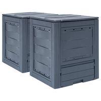 vidaXL Kompostkasser 2 stk grå 60x60x73 cm 520 L