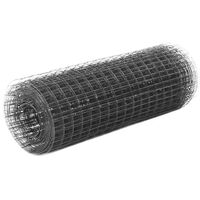 vidaXL Trådgjerde kylling stål med PVC-belegg 25x0,5 m grå