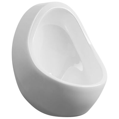vidaXL Vegghengt urinal med spyleventil keramisk hvit