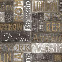 Urban Friends & Coffee Veggtapet bynavn grå og gull