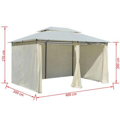 vidaXL Hagetelt med gardiner 4x3 m hvit