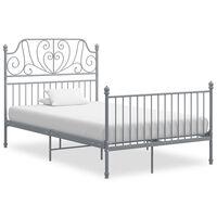 vidaXL Sengeramme grå metall og kryssfiner 120x200 cm