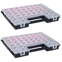 vidaXL Sorteringsbokser 2 stk justerbare avdelere 385x283x50 mm plast