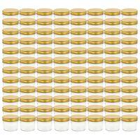 vidaXL Syltetøyglass med gult lokk 96 stk 110 ml