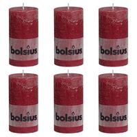 Bolsius Rustikke søylelys 6 stk 130x68 mm vinrød