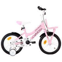 vidaXL Barnesykkel med bagasjebrett foran 14 tommer hvit og rosa