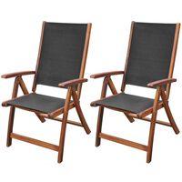 vidaXL Sammenleggbare stoler 2 stk akasie og textilene