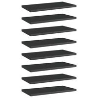 vidaXL Hylleplater 8 stk høyglans svart 40x20x1,5 cm sponplate