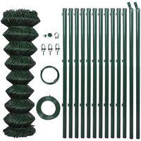 vidaXL Nettinggjerde med stolper stål 1x15 m grønn