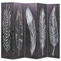 vidaXL Sammenleggbar romdeler 200x170 cm fjær svart og hvit