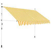vidaXL Manuell uttrekkbar markise 250 cm oransje og hvite striper